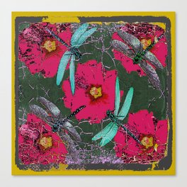 SHABBY CHIC BLUE DRAGONFLIES ON  FUCHSIA HOLLYHOCK FLOWERS Canvas Print