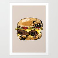 burger Art Prints featuring Pugs Burger by Huebucket
