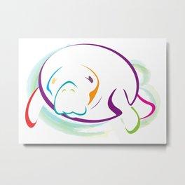 Rainbow Manatee Metal Print