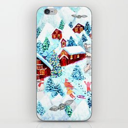 Swiss village in the snow, log cabins, snow days, Alpine watercolor painting by Magenta Rose Designs iPhone Skin