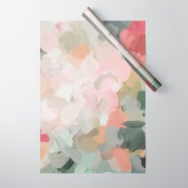 Forest Green Fuchsia Blush Pink Abstract Flower Spring Painting Art Wrapping Paper
