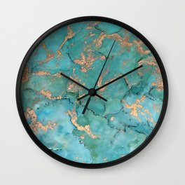 Turquoise and Gold - original painting by Tracy Sayers Trombetta Wall Clock