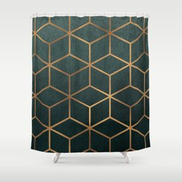 Dark Teal and Gold - Geometric Textured Gradient Cube Design Shower Curtain