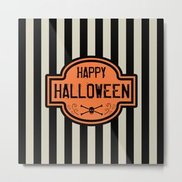 Happy Halloween Black & White Stripes Metal Print
