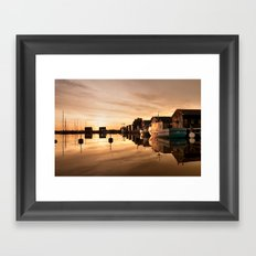 Beautiful Sunrise - harbour Beach Boat Ship Framed Art Print
