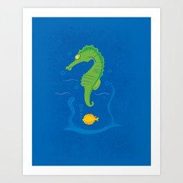 MANY QUESTION BLUE Art Print