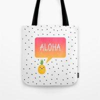 aloha Tote Bags featuring Aloha by Elisabeth Fredriksson