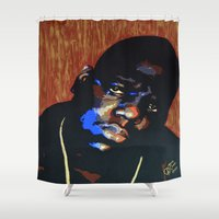 biggie smalls Shower Curtains featuring Biggie Smalls (Notorious BIG) Pop Art by KatCaiArt