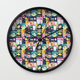Seamless pattern of various fruit drinks and fruit on a dark background Wall Clock