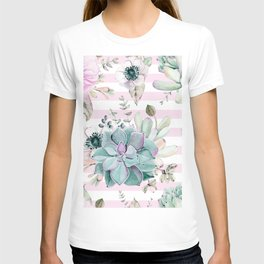 Succulents in the Garden Pink Stripes T-shirt