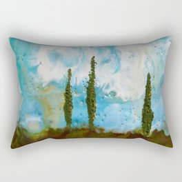 Tuscan Sunset original Encaustic wax painting by Seasons Kaz Sparks Rectangular Pillow
