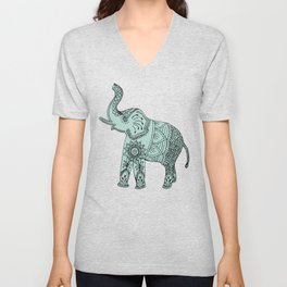 Elephant doodle in mint and pink. Unisex V-Neck