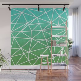 Abstract geometric | green & turquoise Wall Mural