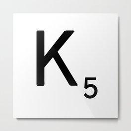 Letter K - Custom Scrabble Letter Tile Art - Scrabble K Metal Print