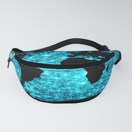 wOrld map Turquoise Sparkle Fanny Pack
