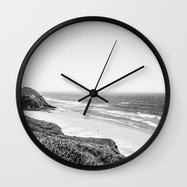Beach Horizon | Black and White Color Sky Ocean Water Waves Coastal Landscape Photograph Wall Clock