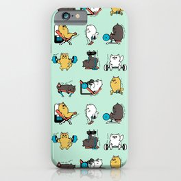 Leg Day with Persian Cat iPhone Case