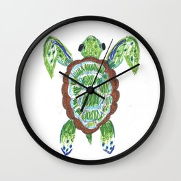 Original Turtle Drawing - Under the Sea Collection Wall Clock