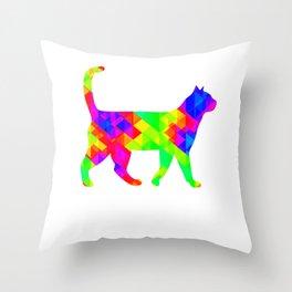 Rainbow Square Cat Inverted Throw Pillow