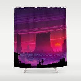 Synthwave Space #17: Twilight horizon Shower Curtain