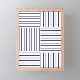 Minimal Blue Stripes #society6 #decor #buyart Framed Mini Art Print