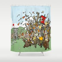 vikings Shower Curtains featuring Attack of the Vikings!  by brittonandbaer