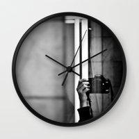 photographer Wall Clocks featuring Photographer by Estrella Díaz Photovisual
