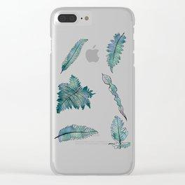 6 Blue-Green Ferns Clear iPhone Case