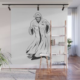 Grim reaper holding an hourglass -  black and white Wall Mural