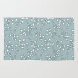 Baby's Breath Flower Pattern - Grey Green Rug