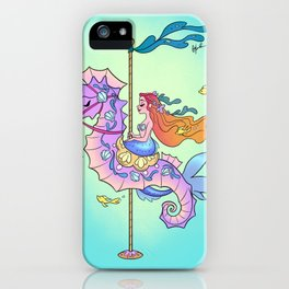 Mermaid on Carousel - Ink Version iPhone Case