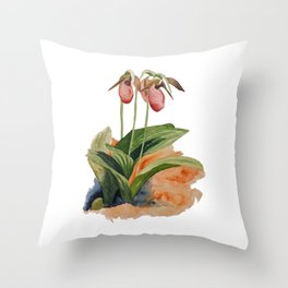 Pink Lady Slipper Trio Throw Pillow