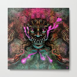 Japanese Dragon Mask Metal Print