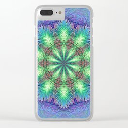 Blue Vintage Flower Background Pattern Clear iPhone Case