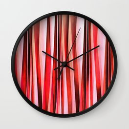 Red Adventure Striped Abstract Pattern Wall Clock