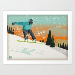 Snowboard Jump Art Print