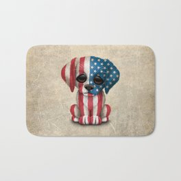 Cute Puppy Dog with flag of The United States Bath Mat
