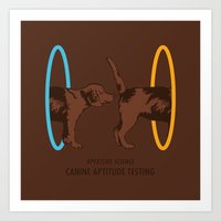 aperture Art Prints featuring Aperture Science - Canine Aptitude Testing by Visual World