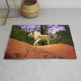 King of the Mountain - Young White Lion Rug