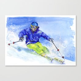 Watercolor skier, skiing illustration Canvas Print