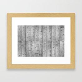 Wood Planks in black and white Framed Art Print