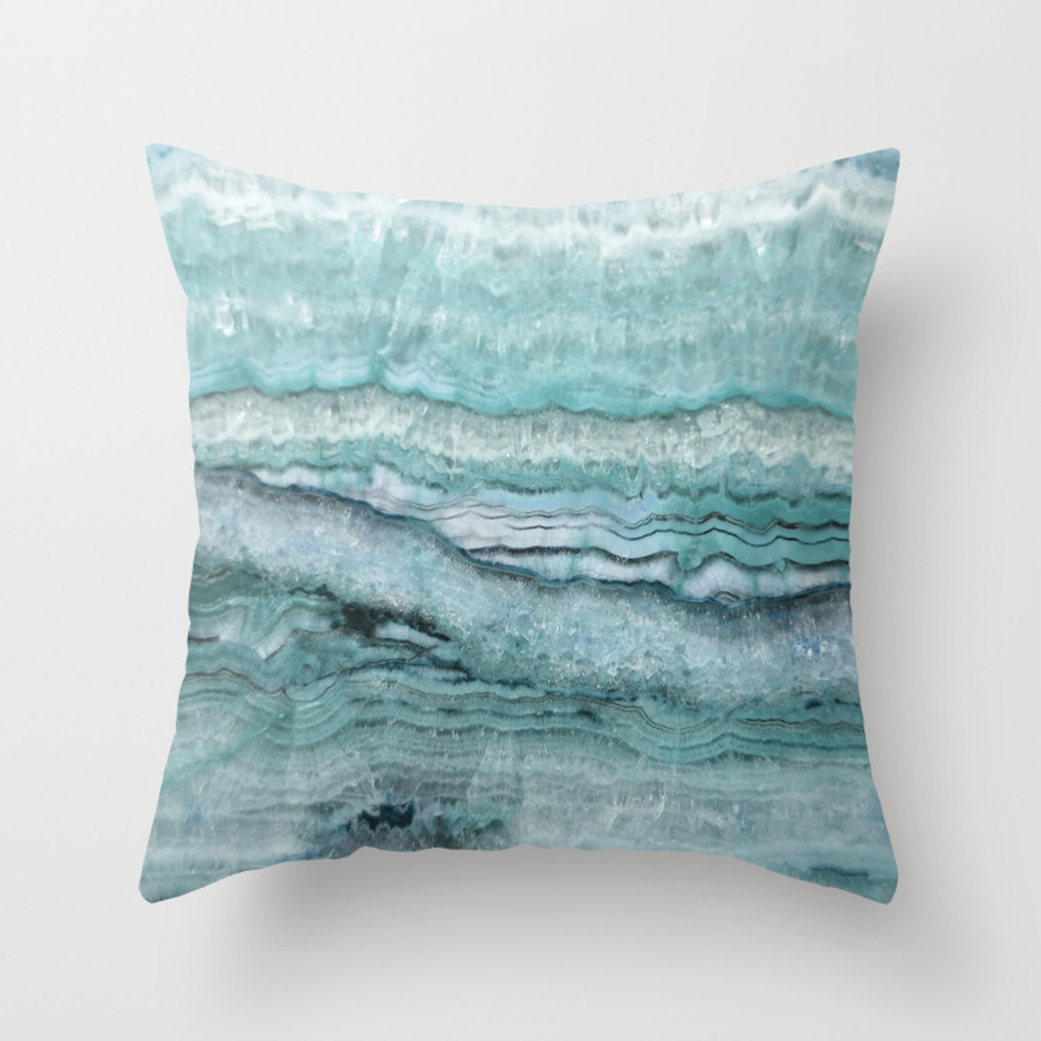 Mystic Stone Aqua Teal Throw Pillow By