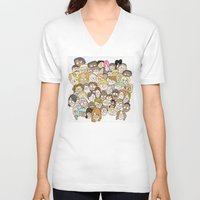 it crowd V-neck T-shirts featuring Crowd by cmdonodraws