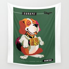 1955 EUROPE Qantas Airline Advertising Poster Wall Tapestry