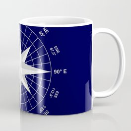 Compass on Navy Blue Coffee Mug