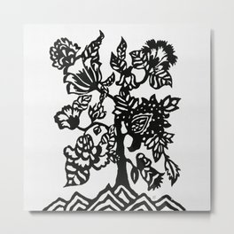 Botanical Tree of Life Block Print Metal Print