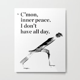 unny yoga print, original yoga art, unique yoga gift, black and white, modern, inner peace, drawing Metal Print