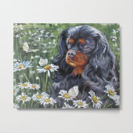 Black and Tan Cavalier King Charles Spaniel painting by L.A.Shepard Metal Print