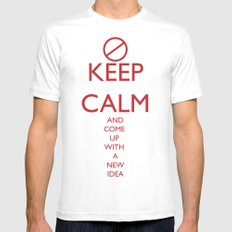 Maybe, Don't Keep Calm Mens Fitted Tee MEDIUM White