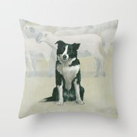 border collie Throw Pillows featuring border collie by phil art guy